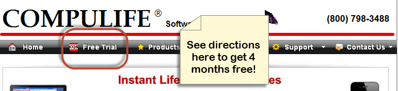 Compulife Free 4 Month Trial Subscription