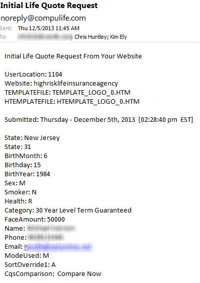 Compulife Quote Request Details