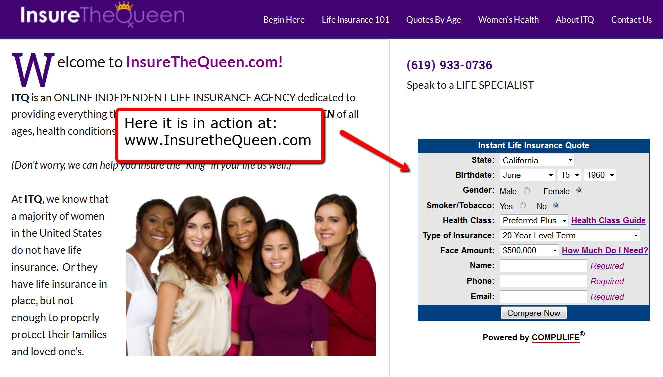 Compulife Quote form on InsuretheQueen.com