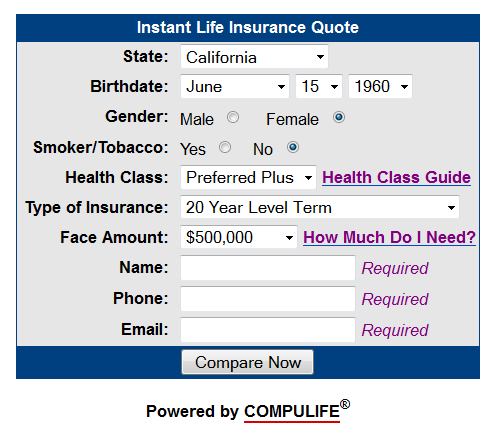 Compulife quote form - life insurance quote engine