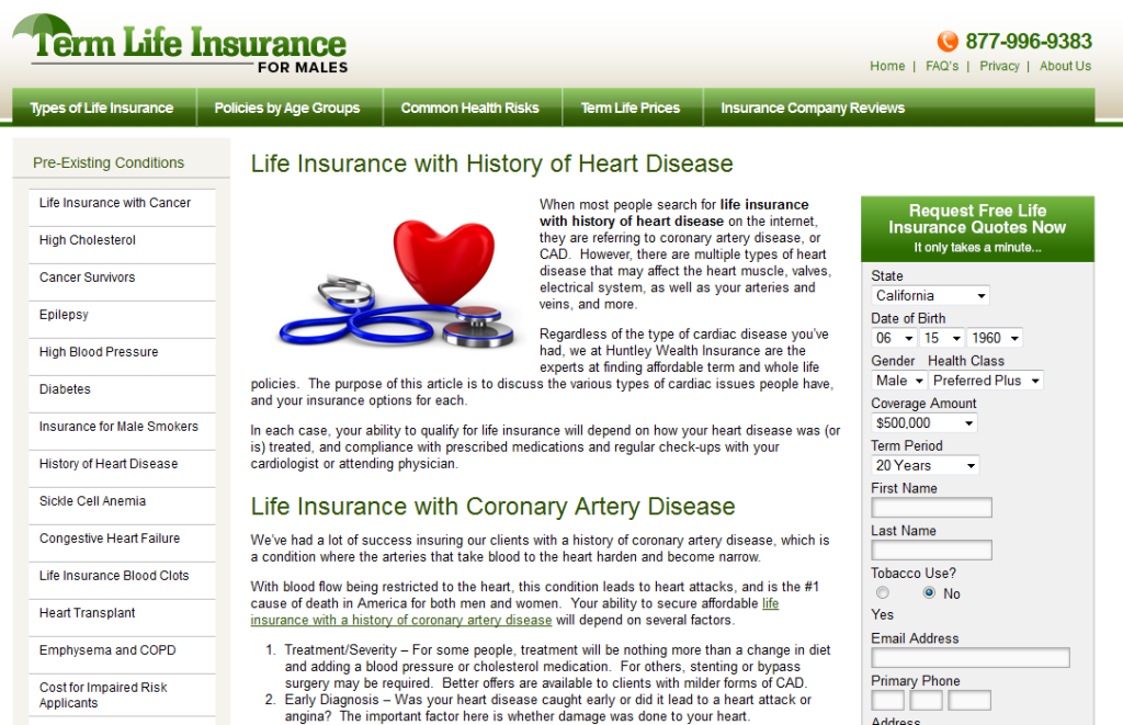 Term Life Insurance Males