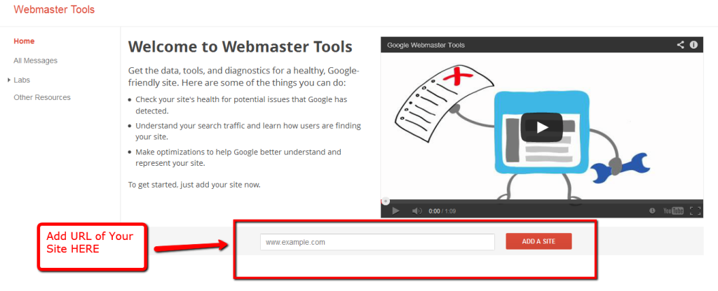Add url to webmaster tools