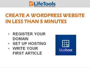 create insurance website with wordpress and bluehost